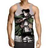 Attack On Titan Levi Blood On His Face Fan Art Cool Tank Top - Konoha Stuff