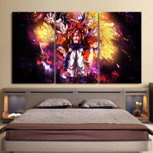 DBZ Gogeta Goku Vegeta Super Saiyan Powerful 3Pc Wall Art