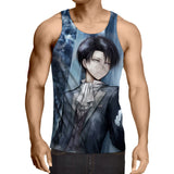 Attack On Titan Levi Intimidating Eyes Portrait Print Tank Top - Konoha Stuff