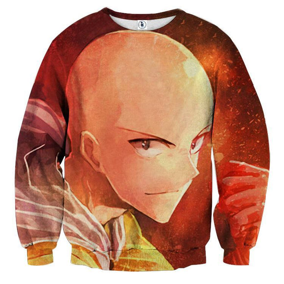One-Punch Man Saitama Smiling Fighting Style Print Sweatshirt - Konoha Stuff