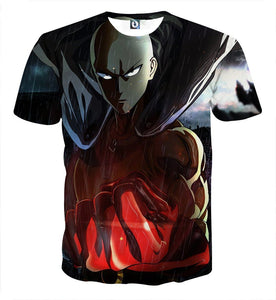 One-Punch Man Powerful Saitama In The Rain Full Print T-shirt - Konoha Stuff