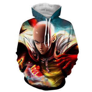 One-Punch Man Saitama Ready To Fight Vibrant 3D Print Hoodie - Konoha Stuff