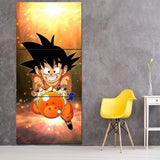 Cute Goku Kid Catch Fourth Dragon Ball 3Pc Canvas Print