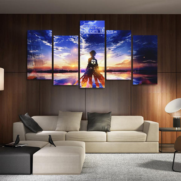AOT Eren Looking At Sunset Asymmetrical 5pcs Canvas Print
