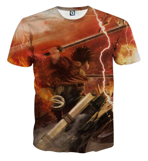 Attack On Titan Lonely Eren Battle Scene Full Print T-shirt - Konoha Stuff