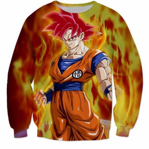 3D Printed Dragon Ball Goku Fire Flame Sweatshirt - Saiyan Stuff