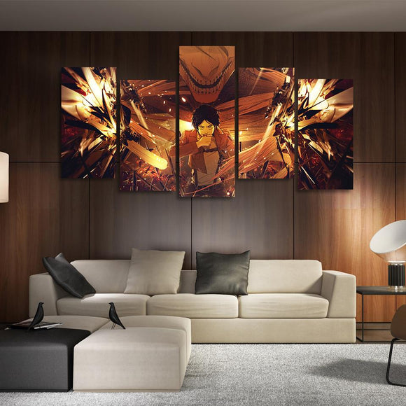 AOT Eren Creepy Titan Shifter Asymmetrical 5pcs Canvas Print