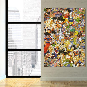 DBZ Anime Manga Full Characters Design 1Pc Canvas Print