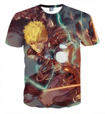 One-Punch Man Aggressive Genos Fighting Full Print T-shirt - Konoha Stuff