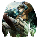Attack On Titan Levi Ackerman The Captain Full Print Sweatshirt - Konoha Stuff