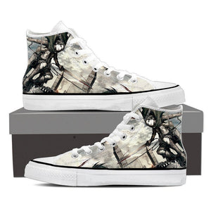 Attack On Titan Levi Dual Blades Jumping Sketch Style Shoes - Konoha Stuff