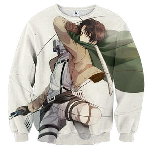 Attack On Titan Levi Ackerman Fighting Dope Style Print Sweatshirt - Konoha Stuff