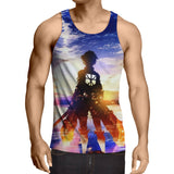 Attack On Titan Lonely Eren Watching Sunset Vibrant Tank Top - Konoha Stuff