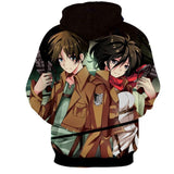 Attack On Titan Eren And Mikasa Lovely Fan Art 3D Print Hoodie - Konoha Stuff