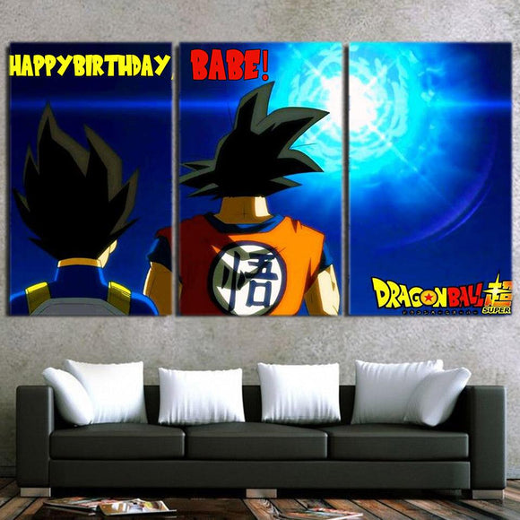 Goku And Vegeta Birthday Greetings Danger 3pcs Canvas