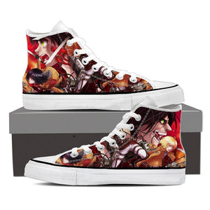 Attack On Titan Eren And Mikasa Fighting Fan Art Print Shoes - Konoha Stuff