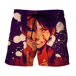 Attack On Titan Eren Two Faces Dope Style 3D Print Short - Konoha Stuff