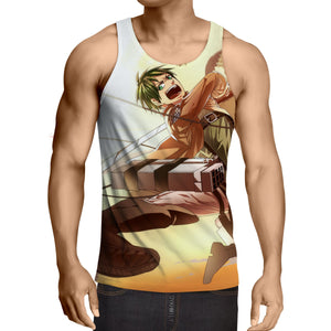 Attack On Titan Eren Yelling Fighting Cool Full Print Tank Top - Konoha Stuff