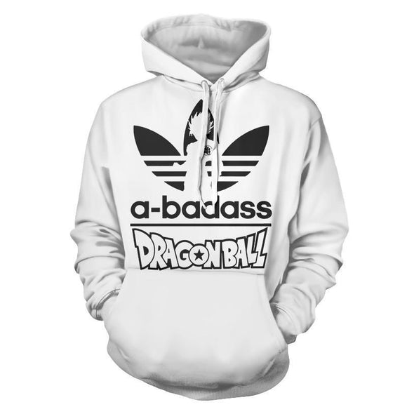 A-Badass Adidas Parody Dragon Ball Goku White Stylish Hoodie