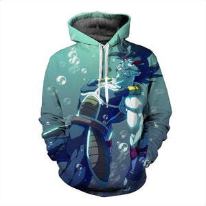 Bardock the Father of Goku in the Green Water HD Stylish DBZ Hoodie