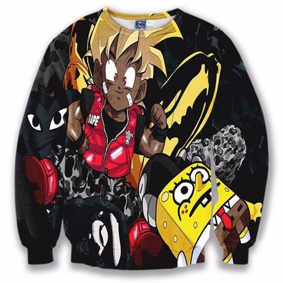 Camo Bape Cute Kid Goku SpongeBob Cool Black 3D Sweatshirt - Saiyan Stuff