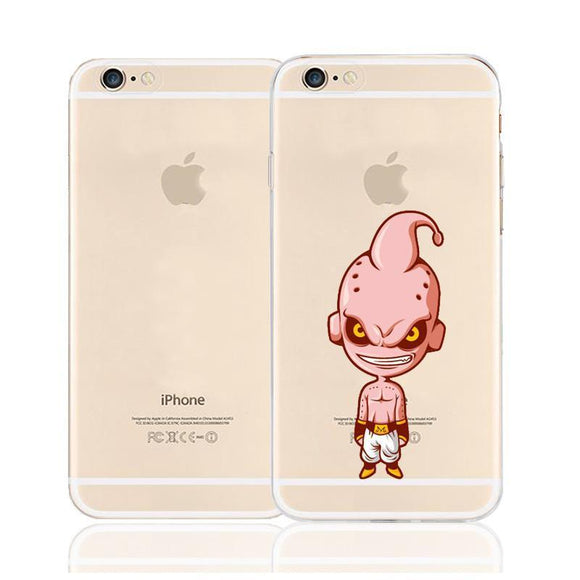 Cute Angry Pink Majin Buu Character Back Cover for iPhone 6 6s Plus