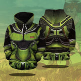 Dragon Ball Z Android16 Armor Suit Pullover Green Hoodie