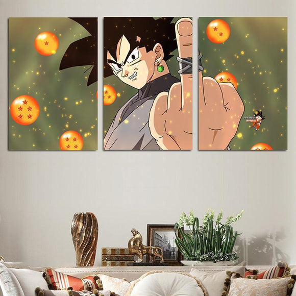 DBZ Bad Goku Black Time Ring Middle Finger 3pc Canvas Prints Wall Art Prints