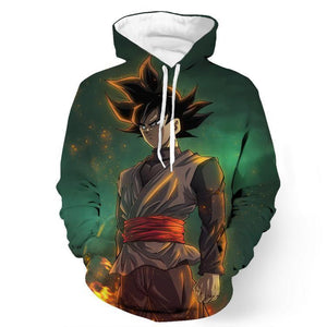 DBZ Black Goku Burning Destruction Fire Cool Trendy Pocket Hoodie - Saiyan Stuff - 1