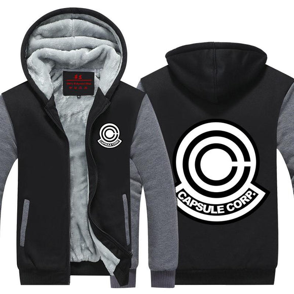 DBZ Capsule Corp Black & Gray Stylish Zip Up Hooded Jacket