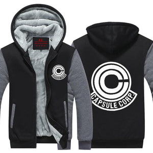 DBZ Capsule Corp Logo Black & Gray Zip Up Hooded Jacket