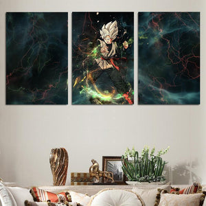 DBZ Goku Black Villain Super Saiyan 3pc Wall Art Decor Canvas Prints