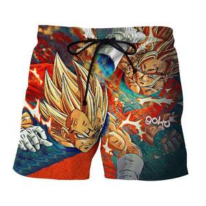 DBZ Goku Fight Majin Vegeta Super Saiyan Fan Art Style Casual Wear Shorts