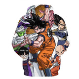 DBZ Goku Fighting Stance Gohan Piccolo Krillin Vegeta Frieza Color Hoodie
