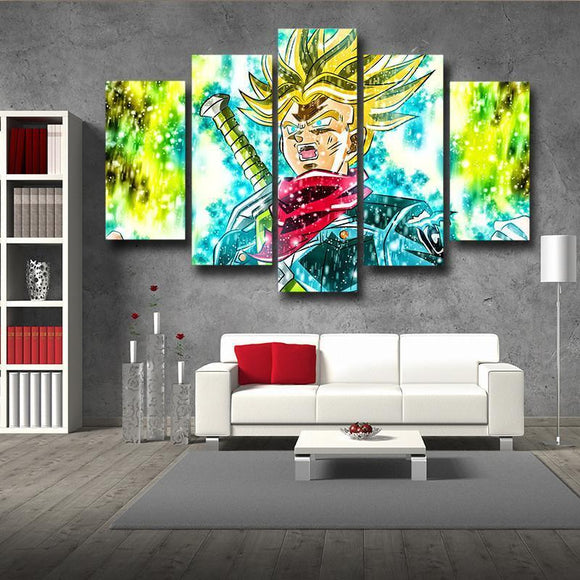 DBZ Trunks Super Saiyan Transformation Painting 5pc Canvas Prints Wall Art