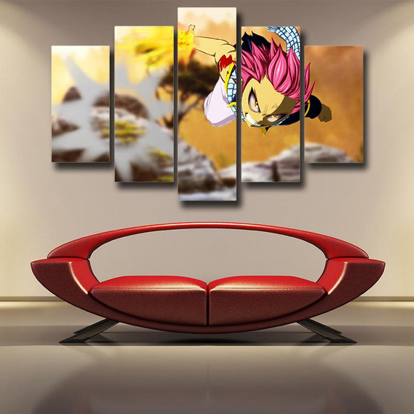 Fairy Tail Angry Natsu Dragneel Dragon Iron Fist 5pcs Canvas