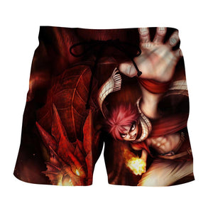 Fairy Tail Anime Natsu Fire Dragon Iron Fist Art Boardshort