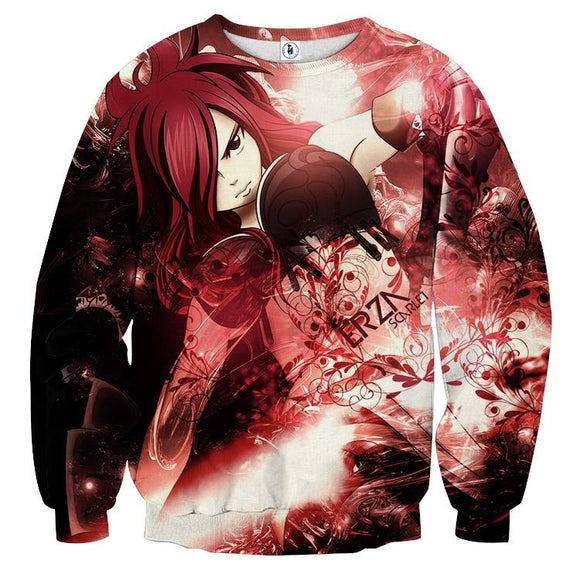 Fairy Tail Elegant Erza Fire Empress Armor Red 3D Sweatshirt