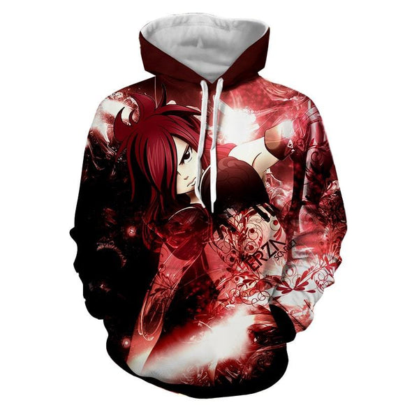 Fairy Tail Elegant Erza Scarlet Red Fire Empress Armor Hoodie