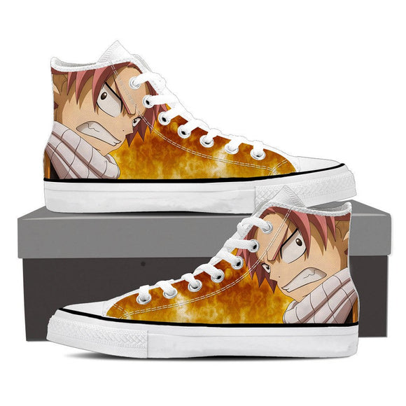 Fairy Tail Furious Natsu Dragneel Orange Hot Flames 3D Shoes