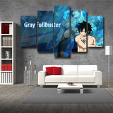 Fairy Tail Gray Fullbuster Vibrant Blue 5pcs Canvas Print