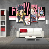 Fairy Tail Natsu And Gray With Happy Black 5pcs Canvas Print