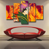 Fairy Tail Natsu Armor Purple Hair Orange Flame 5pcs Canvas