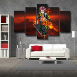 Fairy Tail Natsu Dragneel Black Tartaros Outfit 5pcs Canvas