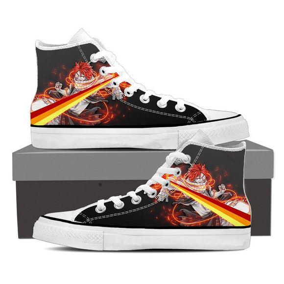Fairy Tail Natsu Dragneel Majestic Orange String Black Shoes