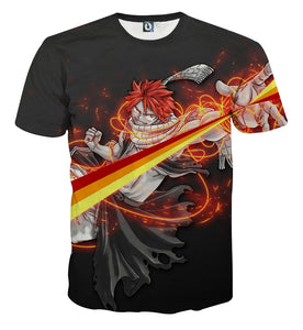 Fairy Tail Natsu Dragneel Majestic Orange String Black T-Shirt