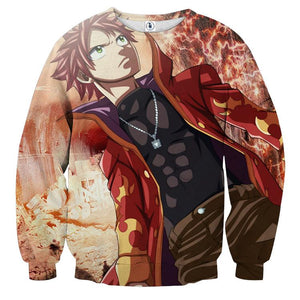 Fairy Tail Natsu Dragneel No Scarf Hot Flame Suit Sweatshirt
