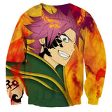 Fairy Tail Natsu Green Armor Purple Hair Orange Sweatshirt