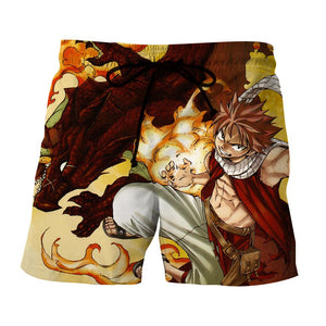 Fairy Tail Natsu Hot Fire Dragon Iron Fist Orange Boardshort