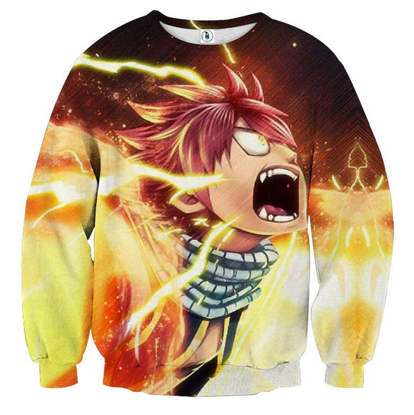 Fairy Tail Natsu Lightning Fire Dragon Orange 3D Sweatshirt